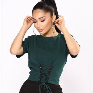 NWT Fashion Nova Hunter Green Corset Top Size Med